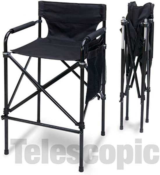 Quad Style Tall Aluminum Directors Chair Black