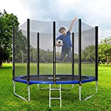 8 FT Outdoor Trampoline, Kids Trampoline, Garden Trampoline with Safety Enclosure Netting and Ladder Edge Cover Jumping Mat