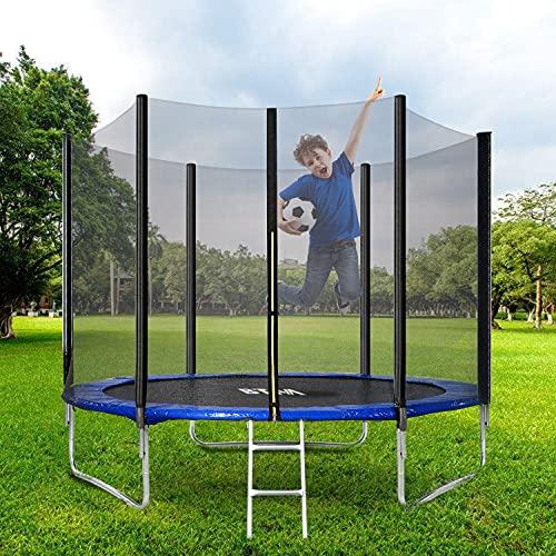 Trampolín redondo premium de 3 m con hoja de salto, redes de seguridad, escalera y kit de anclaje, trampolín al aire libre para adultos y niños