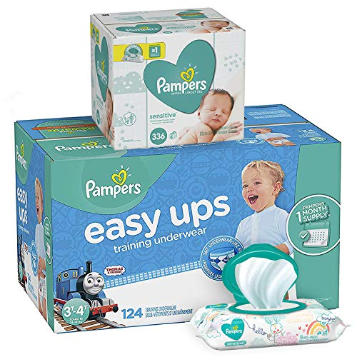 Pampers Bundle - Easy Ups Training Underwear Pull On Disposable Diapers for Boys, Size 5 (3T-4T), 124 Count, ONE MONTH SUPPLY with Baby Wipes Sensitive 6X Pop-Top Packs, 336 Count
