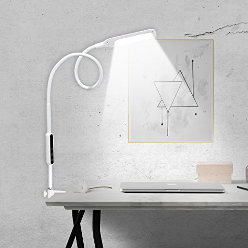 IMIGY 9W 500 Lumens LED Clamp Light, Flexible Gooseneck Dimmable Office Work Light with Touch and Remote Control, 5-Level Brightness and Color Temperature Dimmer Eye Care Light, White