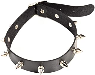 1 PCS Black Goth Studded Rivet Choker Necklace PU Leather Punk Rock Gothic Necklace for Women Girls