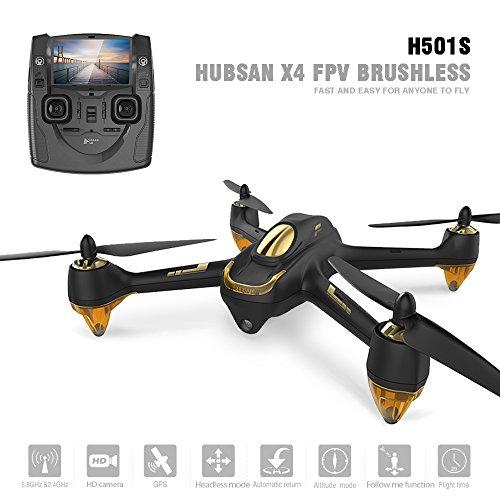 Hubsan H501S X4 Brushless Droni GPS 1080P HD Fotocamera 5.8 GHz FPV 2.4 GHz RC Quadricottero con H901A Trasmettitore Nero Standard Versione