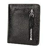 AprinCtempsD Protezione RFID Portafoglio Piccolo in Vera Pelle Porta carte di credito Portamonete Elegante con Cerniera per Donna (Nero)