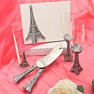 FASHIONCRAFT 2503 Eiffel Tower Design 7 Piece Wedding Day Accessories  - Champagne Flutes and Wedding Cake Knife and Serving Set with Elegant Guest Book and Pen Set, Silver