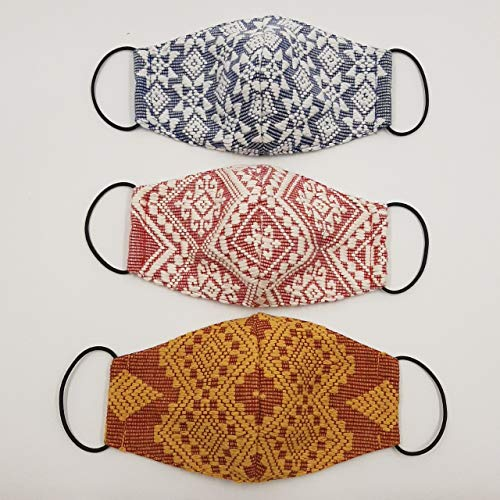 Abra Indigo Manila Hand-Woven 3-Layer PINILIAN Woven Fabric Face Masks with Pocket Filter; 3-Piece Pack ; Each Pack Comes in Random Colors and Designs Made with Woven Textile from Ilocos,Philippines