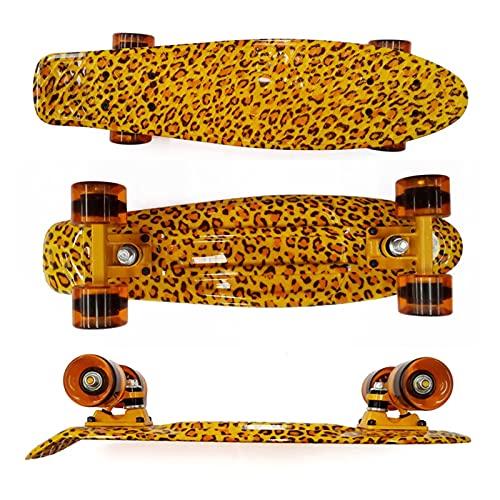 ZHINWEN Monopatín de Longboard, 22 Pulgadas Leopardo Tablero Crucero patineta Adultos Viaje portátil Deporte Tablero de Pescado Azul Amarillo Patines Scooter Color : Yellow(Leopard)