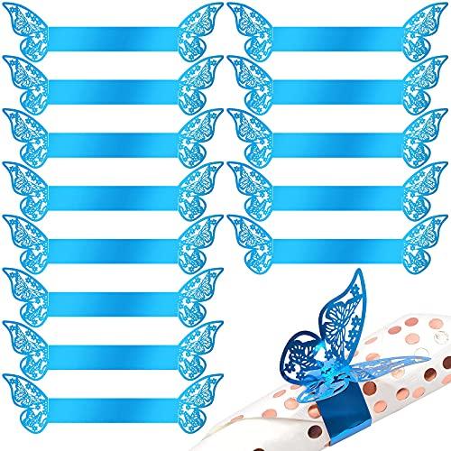 JLNGTHONG Serviettenring, Schmetterling Papier Serviettenring Serviettenhalter für Hochzeit Taufe Kommunion Graduierung Geburtstag Weihnachten Bankett Hochzeit Bankette Dekoration