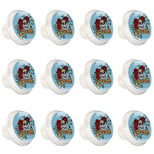 Day of The Dead - Pomos de cristal para cajones (12 unidades), diseño de calavera, color azul