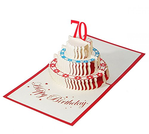 3D KARTEZum 70. Geburtstag I Pop-Up Karte als Geburtstagskarte I Klappkarte als Geldgeschenk, Glückwunschkarte, Geschenk