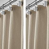 mDesign rideau de douche de luxe en mélange de coton (lot de 2) – rideau de douche tissu cool...