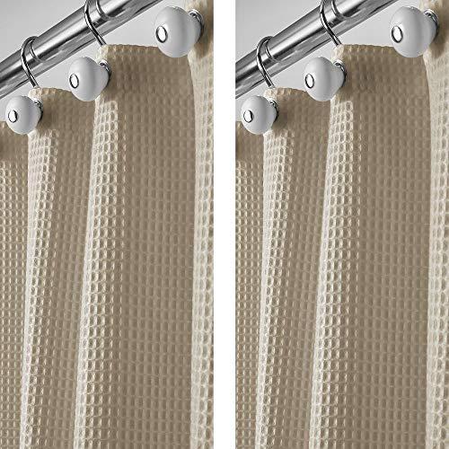 mDesign 2er-Set Duschvorhang aus Baumwollmischgewebe - Cooler Duschvorhang mit Waffelmuster - leicht zu pflegener Badewannenvorhang - beige