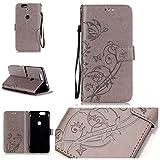 Wenlon HandyHülle Schutzhülle für Huawei (Google) Nexus 6P, Retro pu Leder Tasche Kratzfest Handy case flip Cover case, Geprägte Schmetterling Brieftasche Handyhülle -Grau