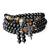 coai Geschenkideen Unisex 108 Mala Kette aus Obsidian und Tigerauge Buddhistisches Wickelarmband Halskette