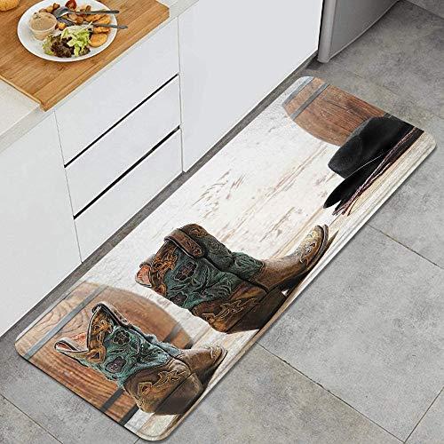 VINISATH Alfombra de Cocina,Botas de Cuero con diseño de Vaquera de Rodeo Estadounidense,tapete Decorativo para Piso de Cocina con Respaldo Antideslizante, 47