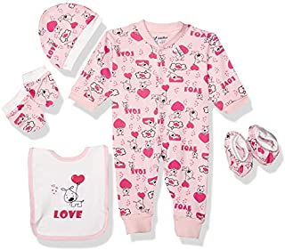 Papillon Cotton Long-Sleeve Snap Closure Bodysuit Clothing Set for Girls - 5 Pieces 6-9 Months