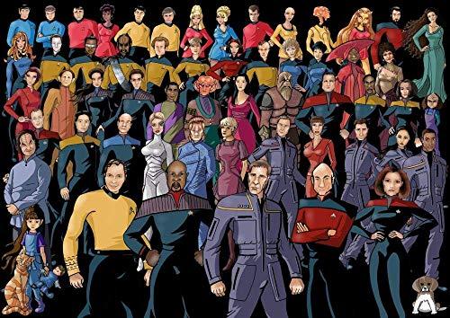 IUWAN 1000-teiliges Puzzle Erwachsene Stressabbau Kinder Intellektuelle Spiele Star Trek-Fleet Crew Poster Paperen Mehrfarbig Personalisieren38 * 26cm