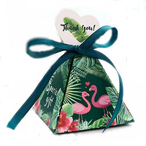 JUN JUNICON - Scatole di carta fai da te per dolci da matrimonio, con fenicotteri tropicali, a triangolo, per cioccolatini, matrimoni, compleanni, caramelle, per feste, confezione da 36