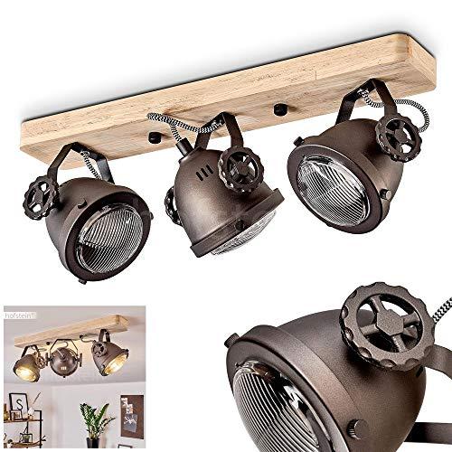 Deckenleuchte Herford, verstellbare Deckenlampe aus Metall/Holz/Glas in Schwarz-Braun/Natur, 3-flammig, 3 x GU10-Fassung, max. 50 Watt, dreh- u. schwenkbarer Spot im Retro Design, LED geeignet