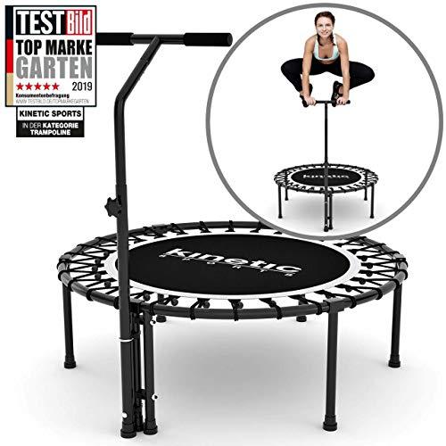 Kinetic Sports Fitness Trampolin Indoor Ø 100 cm, RUND, höhenverstellbarer Haltegriff,...