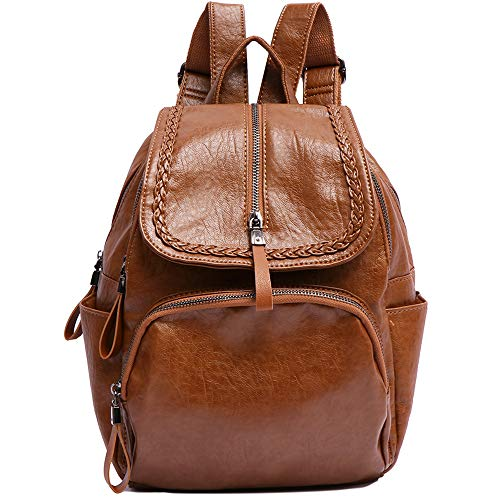 Pearl Angeli Casual Women Backpack Anti-Theft Rucksack Ladies Vegan Leather Small Fashion Shoulder Back Pack Bag with Vintage Weave (Brown)