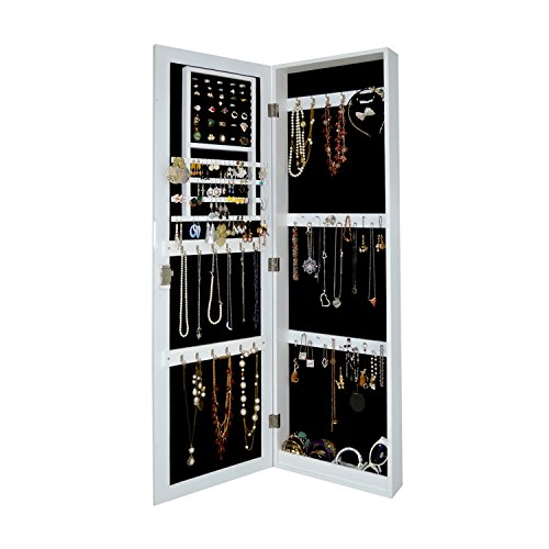 Wall Mount Jewelry Armoire Wooden Over The Door Cabinet with Lock Bedroom Chest Cosmetic Organizer