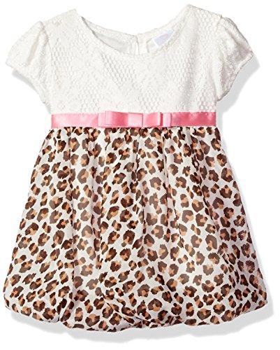 Youngland Baby Girls' Crochet Lace Bodice Bubble Hem Dress with Chiffon Print, Ivory/Multi, 6-9 Months