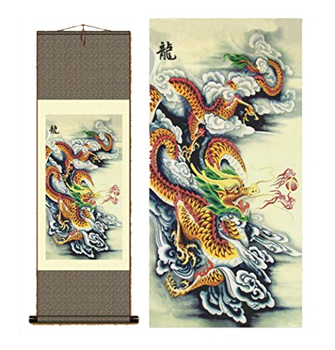 Sunmir (TM) Silk scroll painting chinese dragon painting