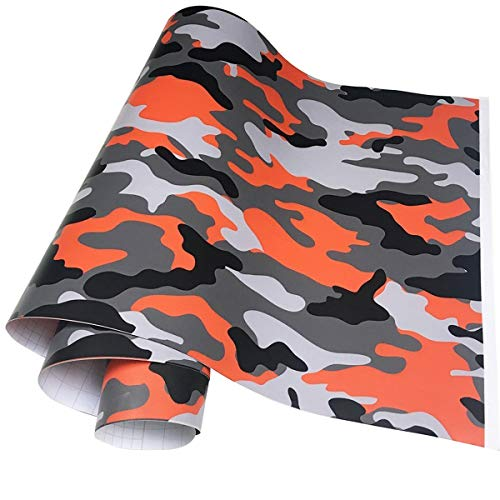Queenbox Car Wrap Vinylfolie Camouflage PVC Auto Aufkleber Fahrzeug Aufkleber Selbstklebend für Motorrad Laptop DIY Wohnkultur, Orange Schwarz 50x100cm
