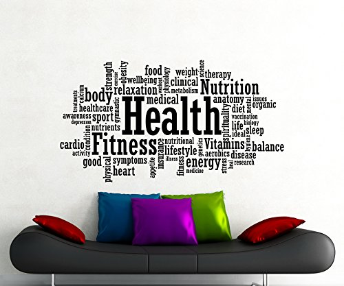 Health Fitness Motivation Word Cloud Wall Decal Healthy Lifestyle Gym Sports Training Place Vinyl Sticker Home Interior Art Decoration Any Room Mural Waterproof Vinyl Sticker (90Gy)