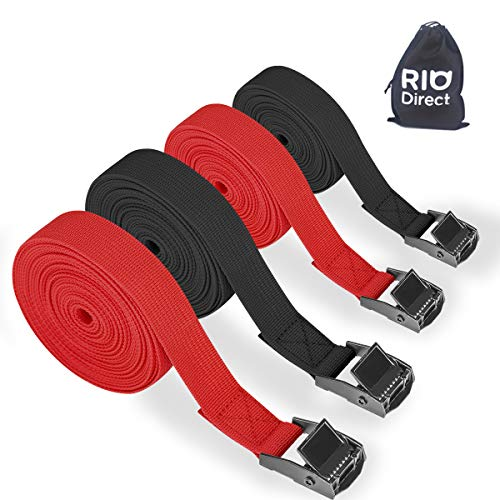 RIO Direct 4 Pack Ratchet Tie Down Straps, Heavy Duty Tensioning Belts Adjustable Lashing Straps for Motorcycle,Cargo, Trailer,Trucks,SUP Kayak,Luggage,5M x 25mm (5M)