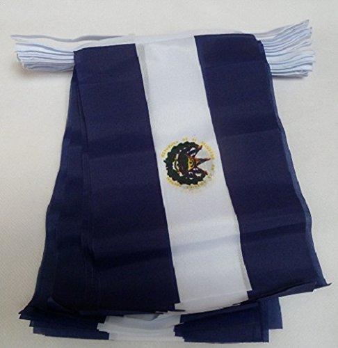 AZ FLAG Guirnalda 12 Metros 20 Banderas de EL Salvador 45x30cm - Bandera SALVADOREÑA 30 x 45 cm - BANDERINES