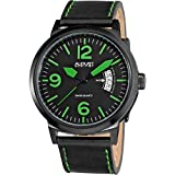 August Steiner Men's Sports Watch - Bold Easy-to-Read Black and Green Dial with Date Window with Black Genuine Distressed Leather Strap - AS8012