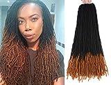 RAYIIS Fuax Locs Crochet Hair Super Lightweight Micro Losc 4Packs Goddess Locs Crochet Hair Synthetic Braiding Hair Extensions (18 inches, #1B/30)