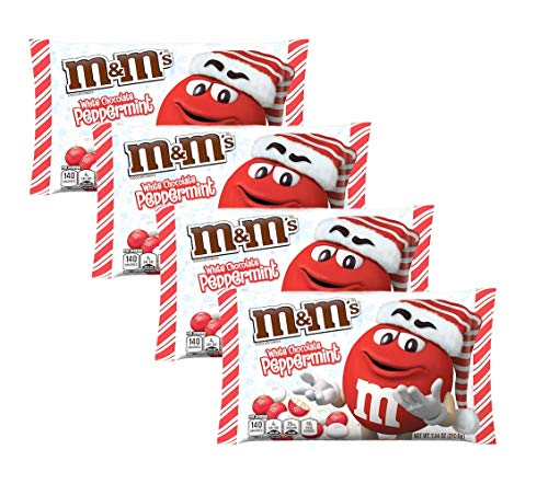 M&MS Seasonal Holiday White Chocolate Peppermint Christmas Candy Bulk Pack of 4 Bags - 7.44 oz Per Bag - 29.76 oz Total