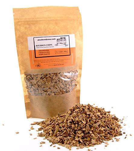 AlcoFermBrew Trucioli di Quercia Bourbon 100g | from Bourbon Barrels | Scaglie di Quercia | Chips Natural | Scaglie Legno Quercia | Oak Chips