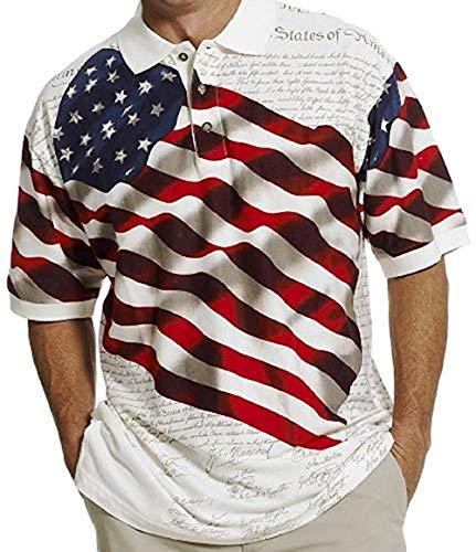 Camisa polo masculina patriótica Cotton Traders Allover, Benji-31, XX-Large
