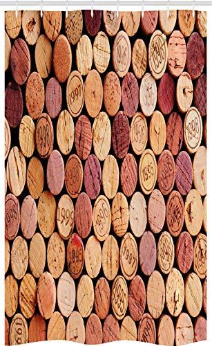 ABAKUHAUS Wijn Douchegordijn, Random Gebruikt Wijnkurken, voor Douchecabine Stoffen Badkamer Decoratie Set met Ophangringen, 120 x 180 cm, Mosterd Mauve Maroon