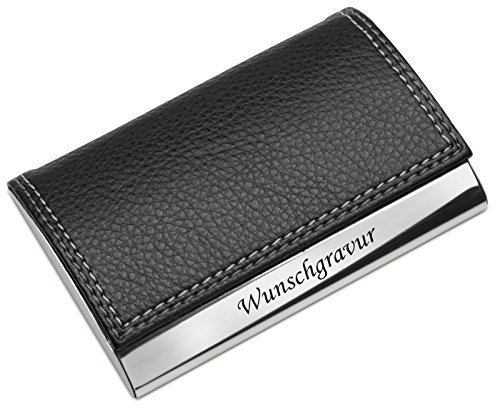 Visitenkartenetui Visitenkartenbox mit Gravur schwarz Lederoptik Metall graviert inkl. Gravur