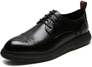Leather Brogue Shoes for Men Leisure Oxford Pointed Toe Microfiber Leather Lace up Platform Pull Tab Anti-slip Rubber Sole shoes (Color : Black, Size : 43 EU)