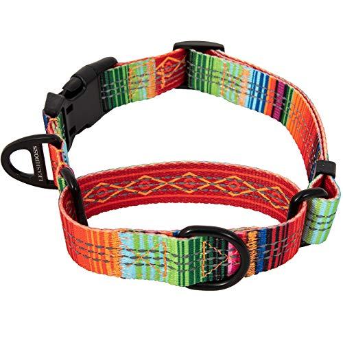 Leashboss Pattern Martingale Dog Collar, Reflective No-Pull Training Collar, Pattern Collection (Blanket Pattern - Medium 14.5-17