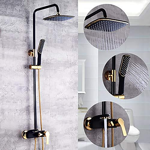 LSHUAIDJ Badkamer zwart douche systeem, allemaal met prachtige koper, douchecabine, vierkante douche, handdouche en bad kraan (inclusief montage accessoires)