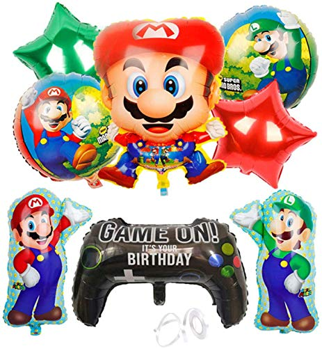 WENTS Ballon XXL Folienballon Luftballon Super Mario Folienballon Kindergeburtstag Deko Mario Bros Brüder Geburtstag Dekoration Set Happy Birthday Deko-Luftballon Balloons 9pcs