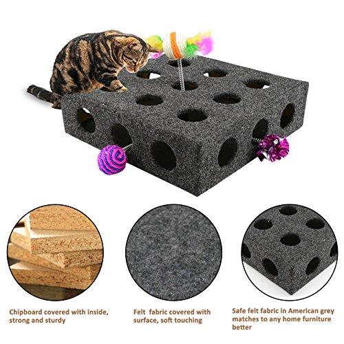 "KingSaid Katzenspielzeug Box 3 Individuelle Katzenspielzeuge Verstecken Inklusive Spielbox ""Peek & Play"" 36 * 36 * 10CM"