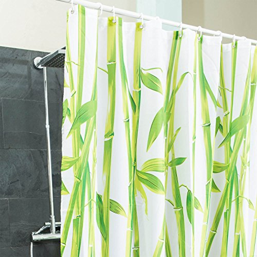 Douchegordijn bamboe textiel - Hygiënisch & elegant | Badkuipgordijn 100% polyester badkuip anti-schimmel 180 x 200 cm wasbaar | Decoratie Feng Shui Bamboo | Aziatische stijl