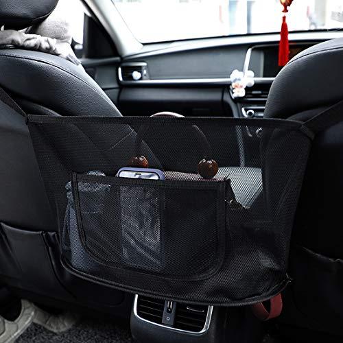 Auto-Netztasche Handtaschen, Aufbewahrungstasche zwischen Autositzen Car Net Pocket Handbag Holder Handtaschen/Snacks/Wallets/Getränke/Handys aufbewahren für Auto und LKW mit Kleine Tasche-Schwarz