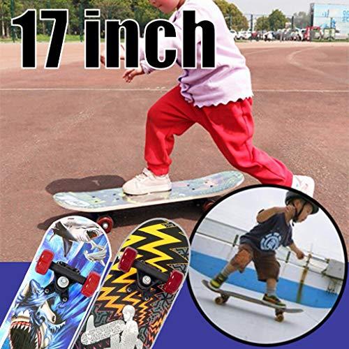 Sport Complete Skateboard Kinder-Skateboard, 40x13 cm Ahornmaterial Superweiche PU-Räder können die Dämpfung beim Fahren abschneiden.Safe Ride Skateboard für Anfänger und Kinder. (Hai-Grafiken)