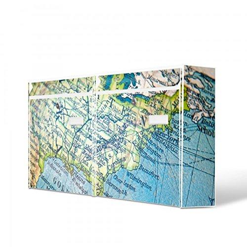 Burg Wächter Briefkastenanlage doppelt | 2 Briefkästen 72cm x 32cm x 10cm groß | Stahl weiß verzinkt mit Namensschild | Doppelbriefkasten 2 Schlüssel | Motiv Globus