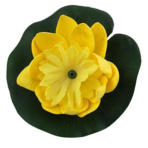 sourcingmap Étang du Poisson Aquarium Plante Fleur pour Lotus Artificiel Ornement Décor Vert Jaune