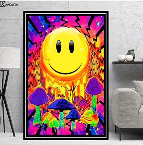 LGXINGLIyidian Poster Und Drucke Magic Mushroom Blacklight Psychedelic Poster Trippy Leinwand Gemälde Wandkunst Bild Wohnzimmer Home Decor Y959 40x60Cm